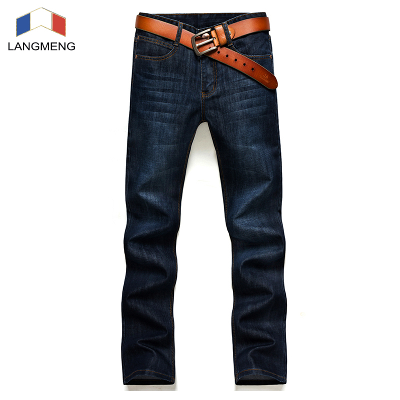 LANGMENG Men Jeans Men 2017 Autumn New Male Fashion Slim Fit Zipper High Quality Soft Solid  Casual Trousers Brand Clothing