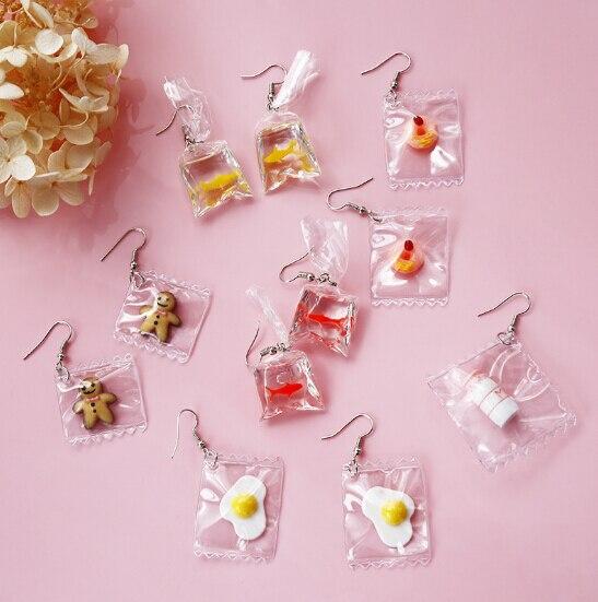 New Fashion Earrings Funny Cartoons Goldfish Water Bags Shape Dangle Earring Charm Resin Earrings Wholesale