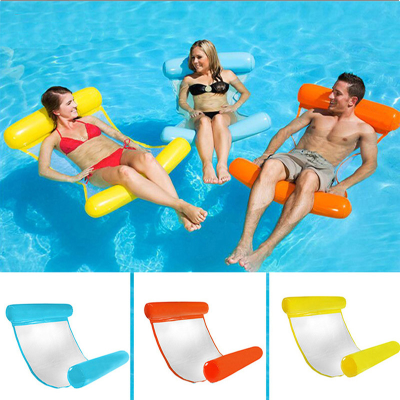 2018 Summer Inflatable Floating Bed Water Hammock Lounger Floating Toys Beach Swimming Pool Lounge Bed Chair Kids Adults Hot intex pacific paradise lounge marine intex 58286 chaise lounge water floating row floating bed water