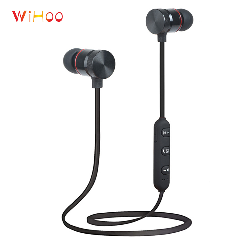 WiHoo M5 Neckband Wireless Headphones Earbuds Magnetic Stere Sports Bluetooth Earphone with mic for Phone iPhone xiaomi