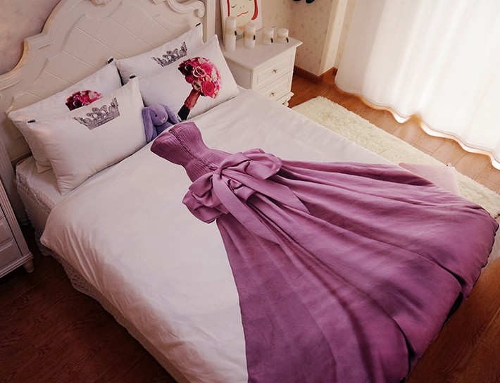 Queen Size Princess Bedding Sets Kids Teen Girls 100% Cotton Bed Sheets  Duvet Cover Set Bedspread Bed In A Bag Full Double Linen In Bedding Sets  From Home ...