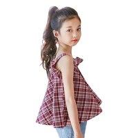 4-14 Yrs duże dziewczynki bawełniane bez rękawów lattice druk t shirt 2018 nowy letni nastolatek dorywczo topy Koszulki koreański dzieci ubrania