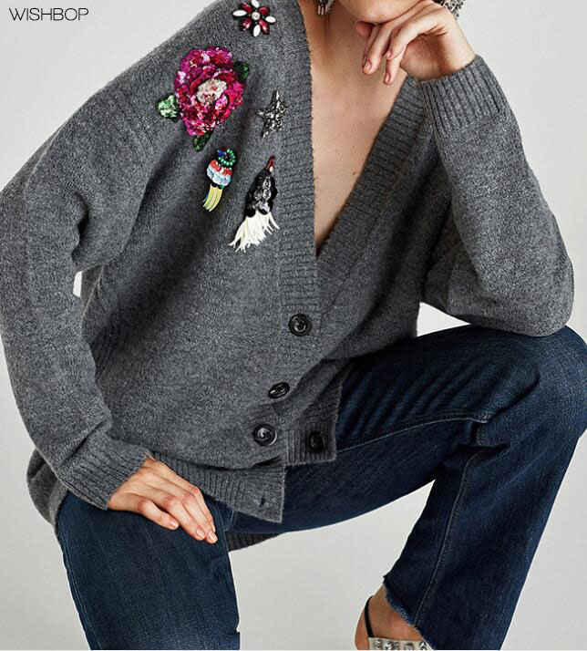 2018 New Appliques & Sequins Cardigan Sweaters - Grey V-neck Long Sleeves & Button-up Fastening Rhinestones Gem Flowing Cardigan cardigan
