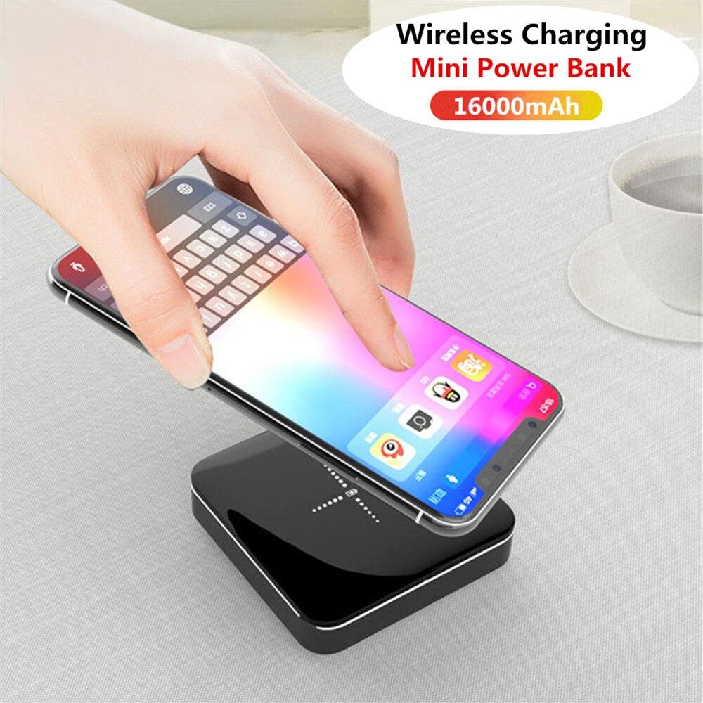 16000 mAh Portable sans fil charge Mini puissance Mobile 2.1A charge rapide en alliage d'aluminium miroir batterie externe double USB charge rapide