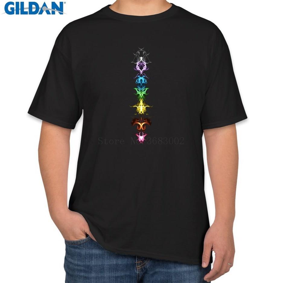 Print Best Men T Shirt Cotton Fractal Chakras Energy Centers