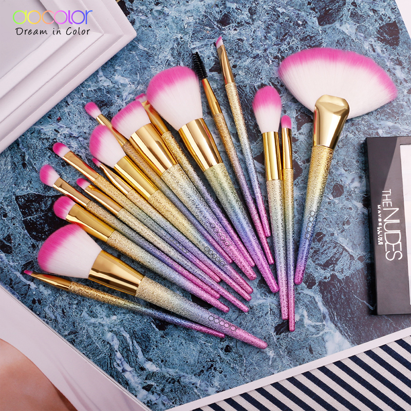 Tesoura de Maquiagem docolor 17 pcs jogo de Used With 4 : Blending Brush, Lip Liner Brush, Concealer Brush