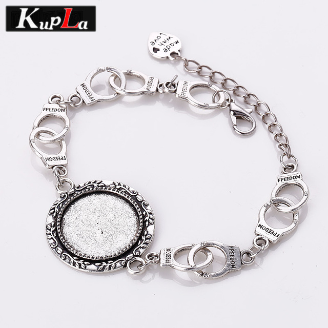 Vintage Metal Handcuffs Charms Bracelets 20mm Round Cabochon Setting Diy Design Jewelry For Woman 3pcs C5806