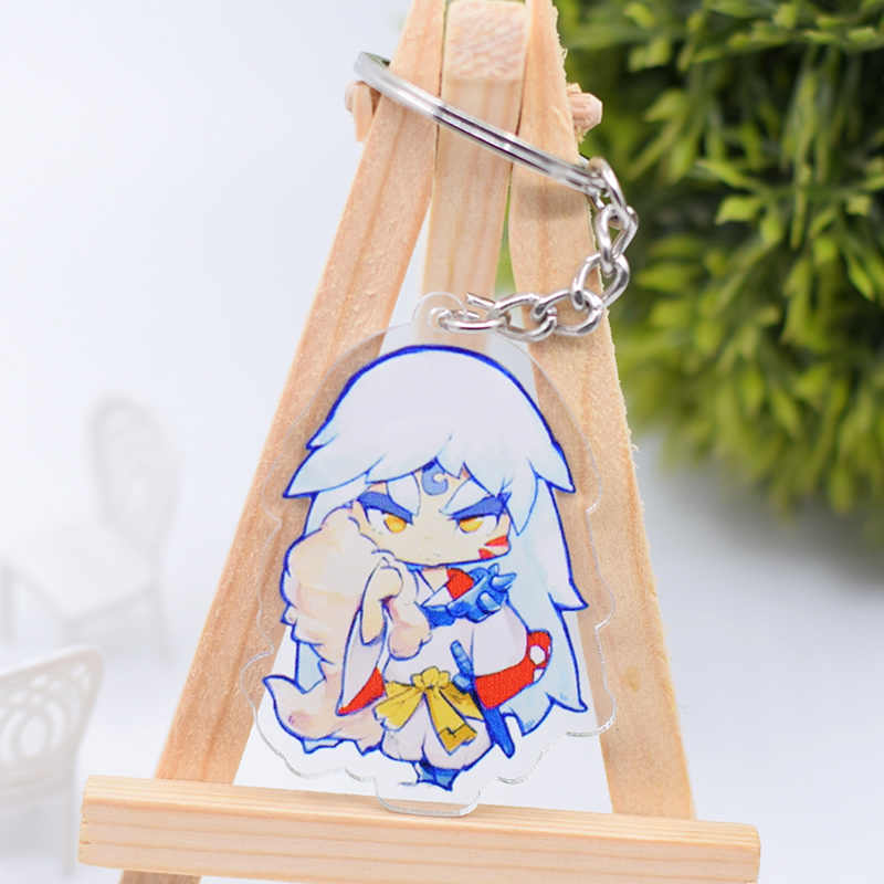 Inuyasha brelok śliczny dwustronny akrylowy breloczek wisiorek akcesoria Anime na klucze z motywem kreskówkowym pierścień DBS1P