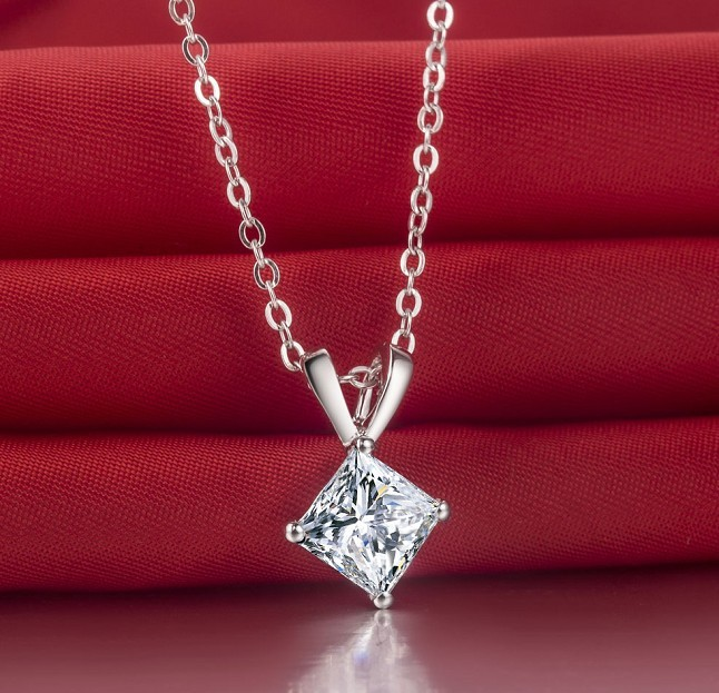 Xmas 14k white gold plated 1 carat princess cut sona diamond pendant xmas 14k white gold plated 1 carat princess cut sona diamond pendant necklace for women fantastic floating charms in pendants from jewelry accessories on aloadofball Gallery