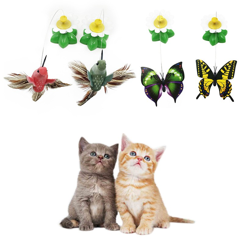 Pet Toy Electric Rotating Cat Toys Flower Butterfly Birds Steel Wire Dog Teaser