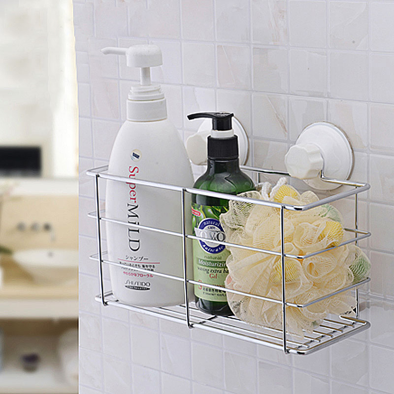 Square Bathroom Storage Sucker Metal Rack With Removable Wall Mount Holder Shelf  For Bath Kitchen Basket Organizer