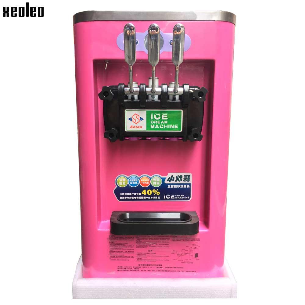 Xeoleo Small Ice cream machine 3 flavors Ice cream maker Commercial Soft Yogur ice cream 10L/H Pink 900W 220V R22  xeoleo three flavors ice cream machine commercial soft ice cream maker 18 20l h blue yellow pink 1hp yogurt ice cream 2000w