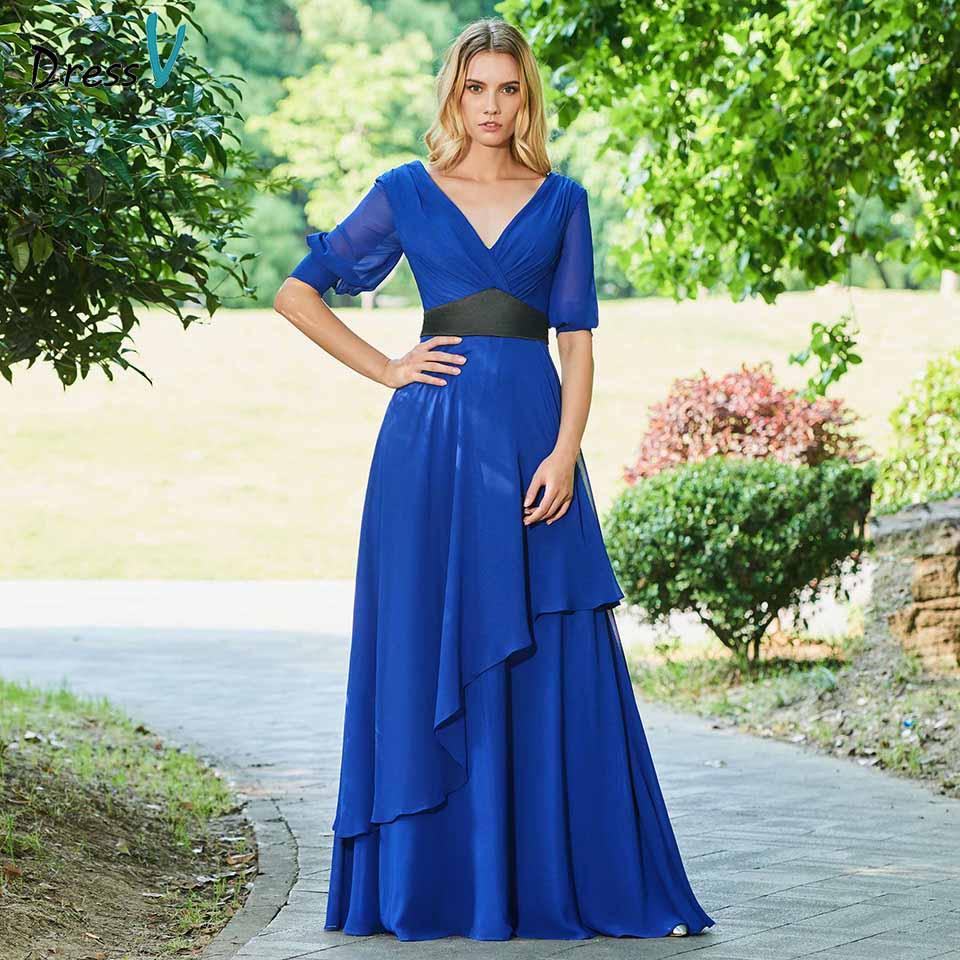 Dressv Elegant Mother Of Bride Dress V Neck A Line Half Sleeves Zipper Up Floor Length Long Mother Evening Gown Dresses Custom