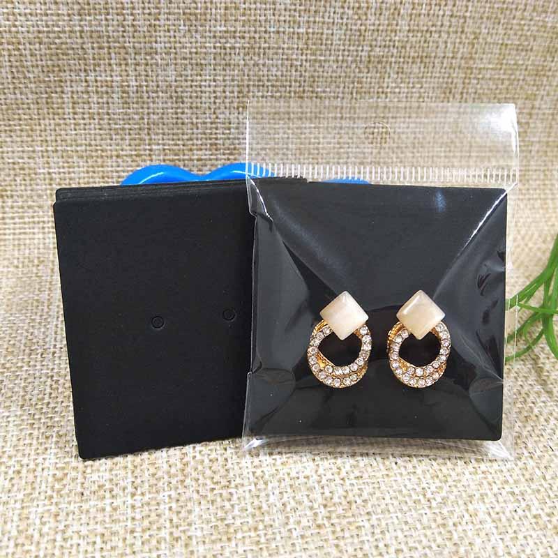 2017 New DIY Free Shipping Wholesale 5.5X5.5CM 1Pain Earring Card Black/Kraft Earring Display 1 Lot = 200pcs Cards+200 Opp Bags