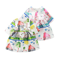 Retailer Girls Spring 2016 Baby Toddler Dress Graffiti Print Princess Dress Kids Clothes Brand Children Clothing