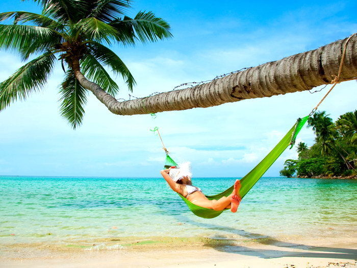 Wall Stickers D0598 Girl Hammock Palm Tree Beach Sea Nature-print Silk Art Wall Poster Ample Supply And Prompt Delivery
