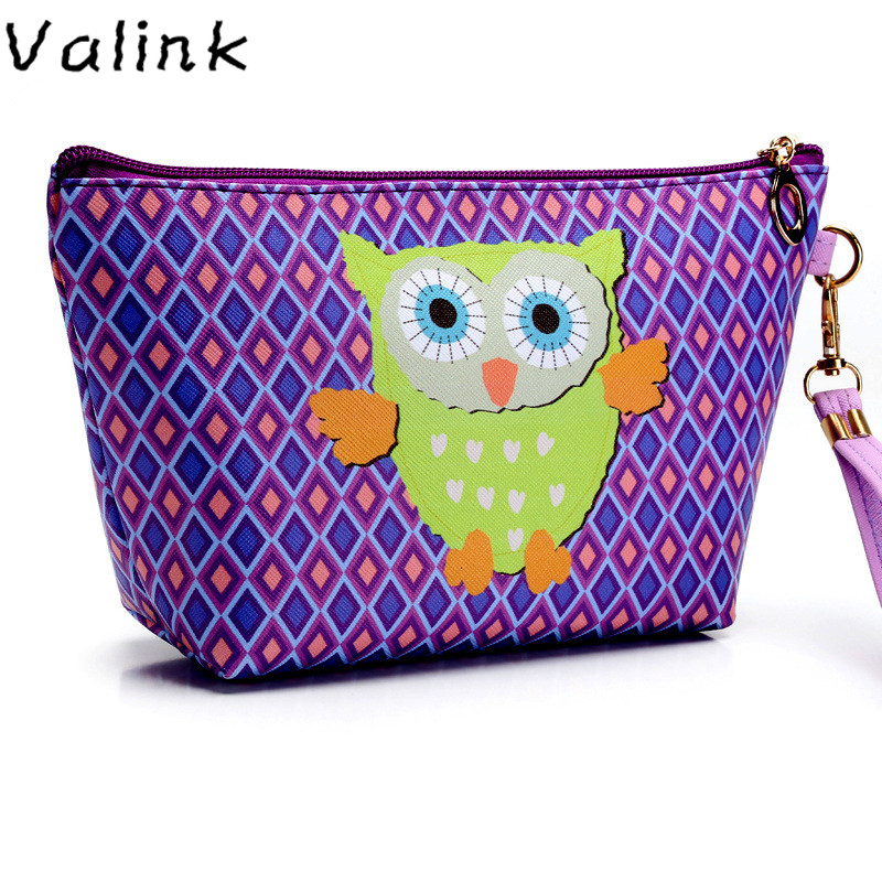 Valink 2017 Cute Owl Cosmetic Bag Toiletry Animal Cartoon Travel Zipper Leather Makeup Bag Waterproof Wash Organizer Neceser sac мини печь avex tr 350 bcl