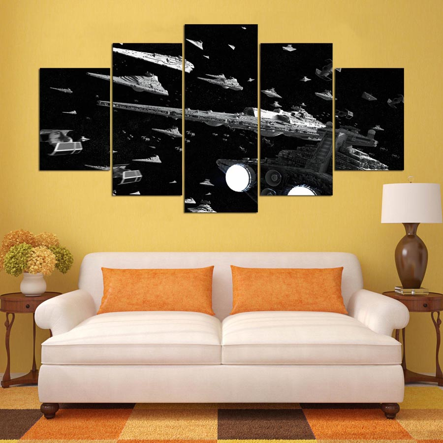HD Printed Canvas Poster Frame Living Room Wall Art 5 Pieces Star ...