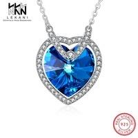 Elegant Blue Crystal From Swarovski Heart Pendant Necklace For Women Big Crystal Pendant 925 Silver Fine Jewlery Wedding Gift