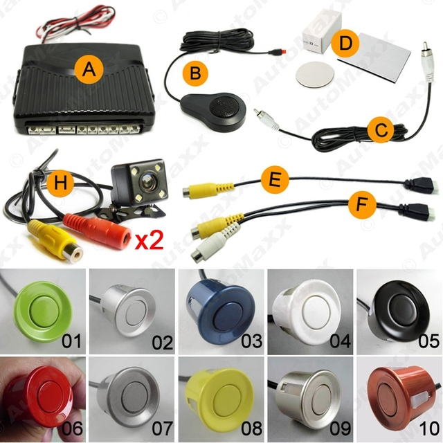 Car 6-Sensors Parking Sensor with 2pcs CCD 4-LED Camera Dual Visual Rear View Video Backup Radar System #J-1967