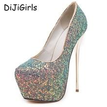Pink sexy bombea los zapatos del partido para las mujeres 16 cm altos extremos tacones zapatos de tacones de plataforma del paillette zapatos de tacón bombas negro azul blanco D378