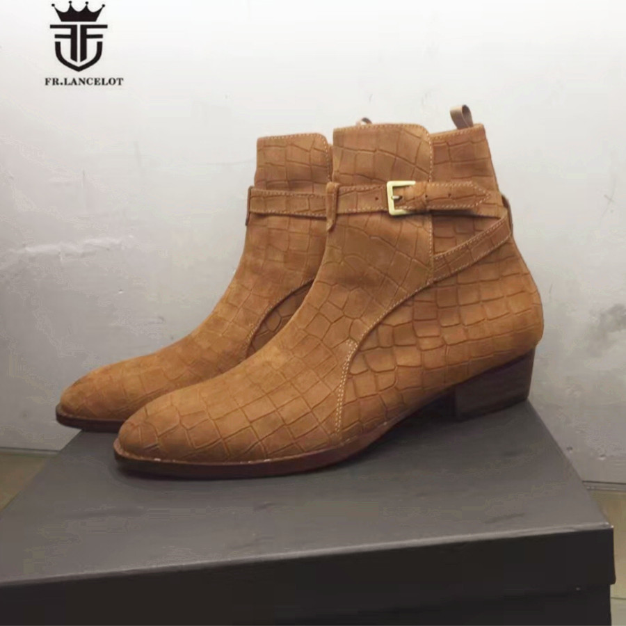 High End Handmade Luxury Mid-Calf Embossed Crocodile pattern Genuine Leather buckle strap Wedge Men Boots double buckle cross straps mid calf boots
