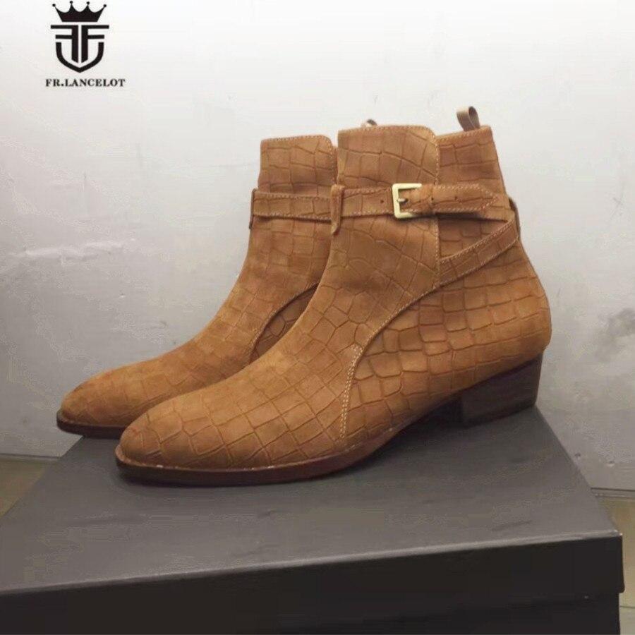 High End Handmade Luxury Mid-Calf Embossed Crocodile pattern Genuine Leather buckle strap Wedge Men Boots 2017 latest men s mid calf boots genuine leather buckle strap round toe men s leather shoes chakku motorcycle boots