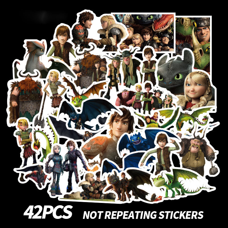 48PCSSet Anime Stickers How to Train Your Dragon Hiccup Toothless Night Light Fury Stickers Toys For Children Adults Skateboard