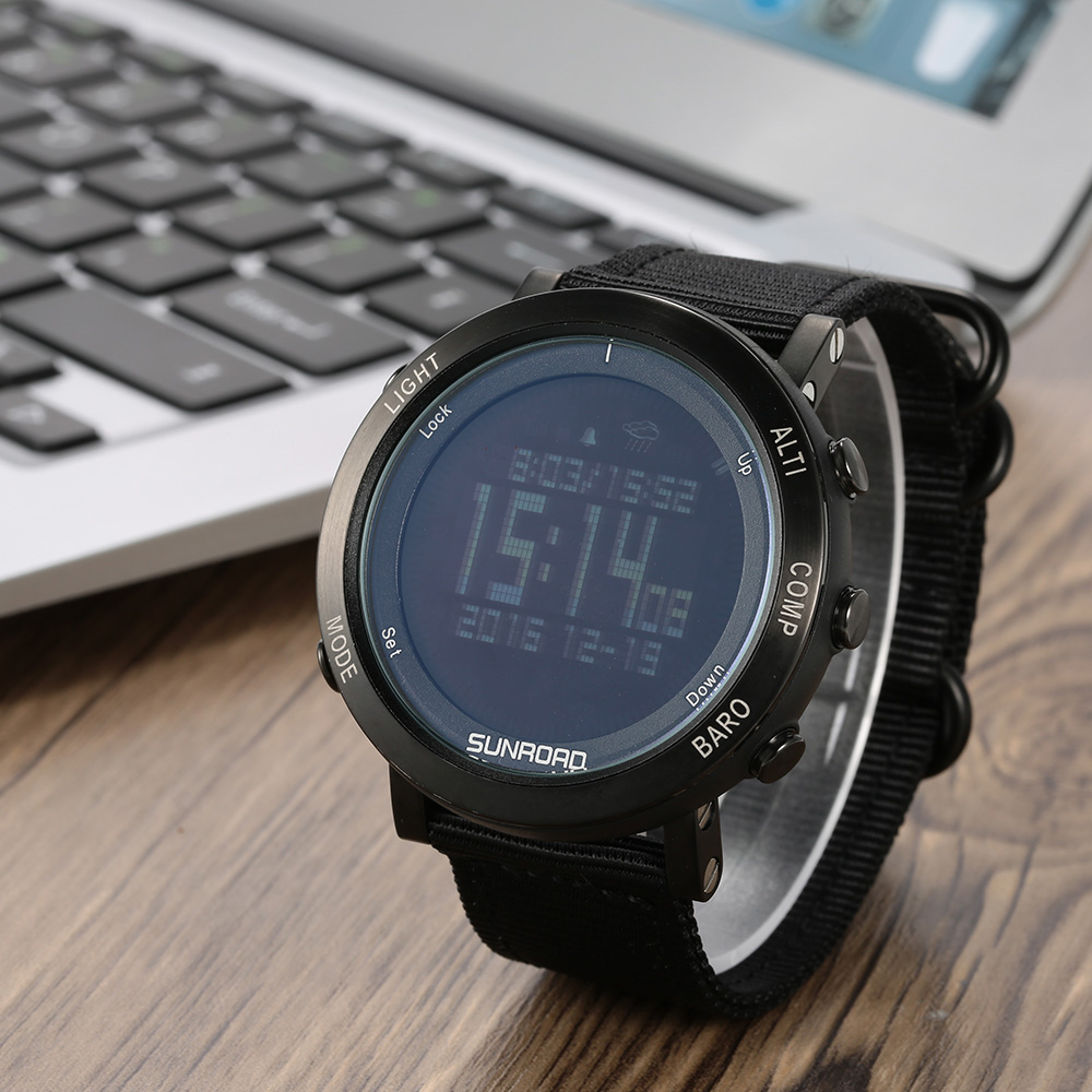 SUNROAD Digital Sports Watch Men Women Pedometer Altimeter Barometer Compass Wristwatch Nylon Band Outdoor Sport Watches for Men sunroad 2018 new arrival outdoor men sports watch fr851 altimeter barometer compass pedometer sport men watch with nylon strap