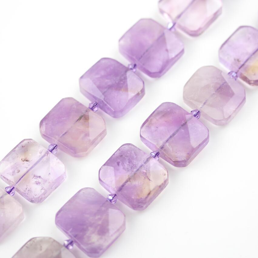 20x25mm Natural Amethysts Citrines Purple Quartz Crystals Center Drilled Faceted Slice Loose Beads Charms for Bracelet Jewelry