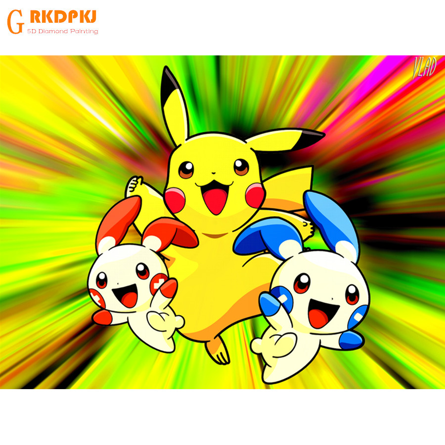 Strass schilderen pokemon crystal Home Decor DIY Diamant schilderen Cartoon Pikachu 3D kruissteek patroon diamant borduurwerk