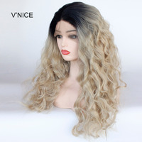 V'NICE Wavy Synthetic Lace Front Wig Heat Resistant Honey Blonde Ombre Mixed with 613# Lace Front Long Wig Middle Parting