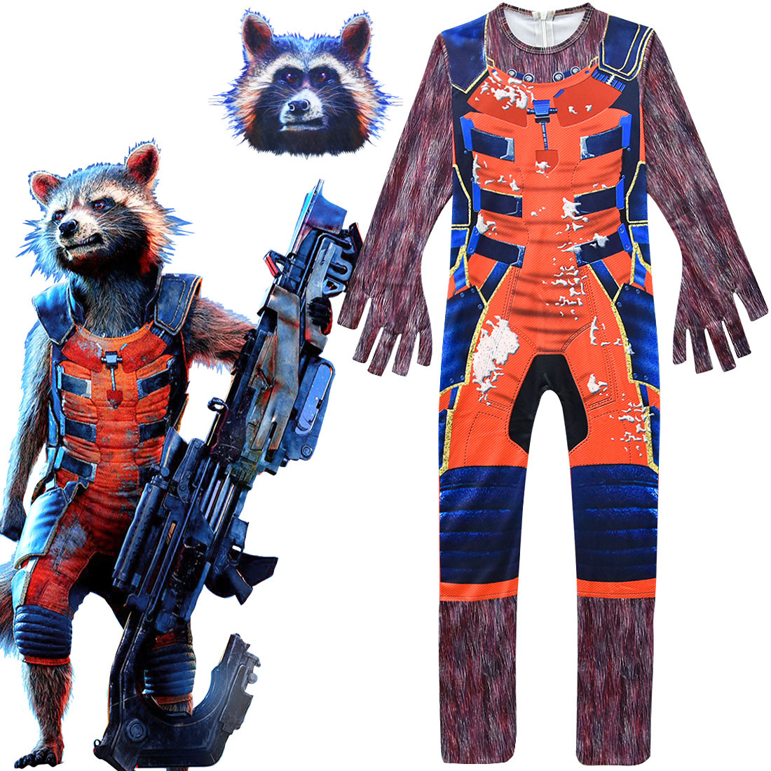 Avengers 4 Kids Boys Rocket Racoon Cosplay Costumes + Mask Superhero Cosplay Halloween Masquerade Party Rocket Racoon Role Play