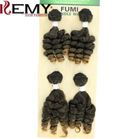 KEMY HAIR Ombre Funmi Synthetic Hair Weaves 4 Bundles One Pack Two Tone T1B/30 Short Hair Weft Extensions High Temperature Fiber