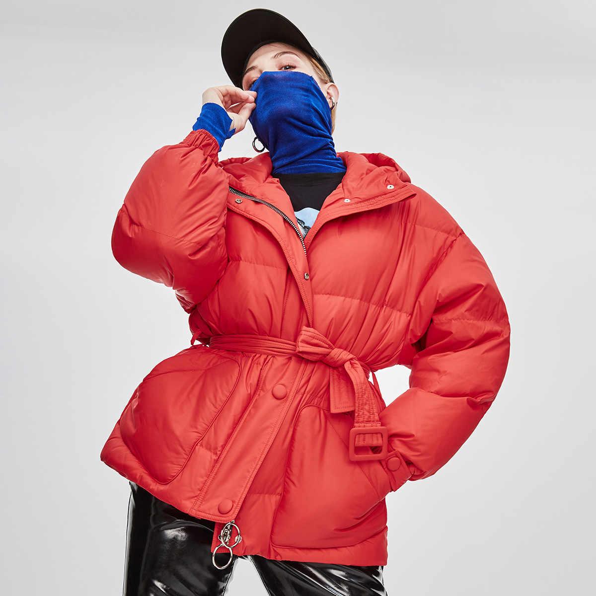 JAZZEVAR 2019 冬の新ファッションストリートデザイナーブランドレディース 90% アヒルダウンジャケットプリティガールズベルト z18004 とコートを上着