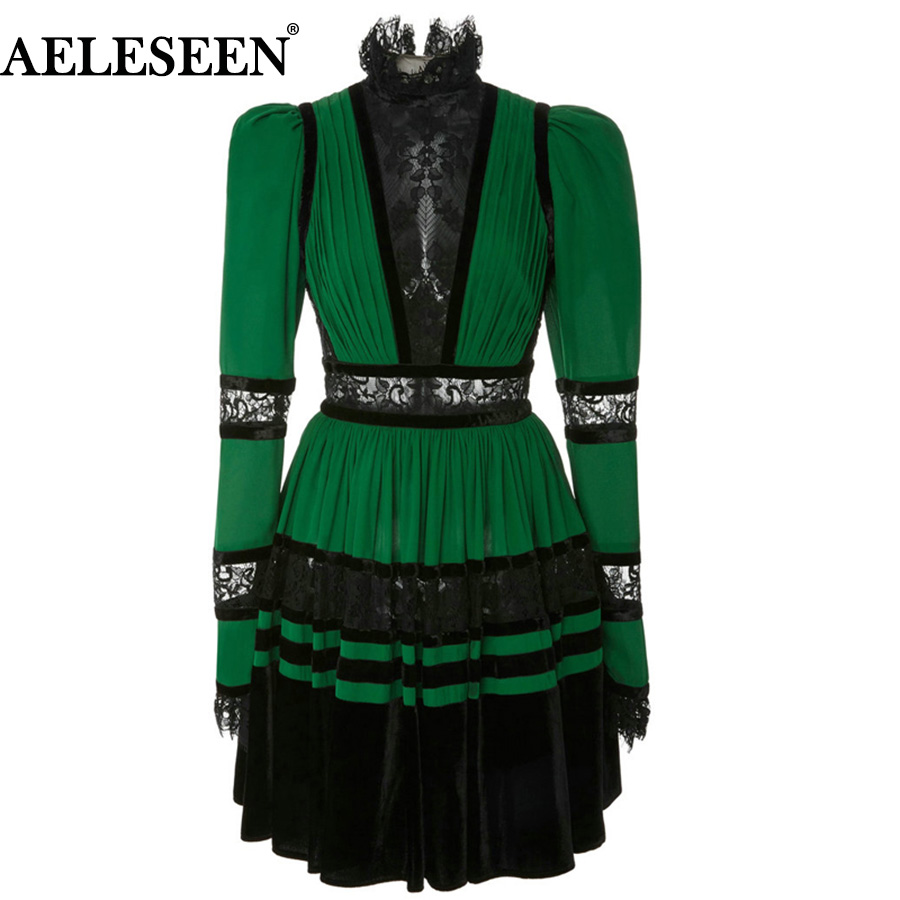 AELESEEN High Quality OL Dress 2018 New Autumn Fashion Green Stand Puff Long Sleeve Lace Patchwork