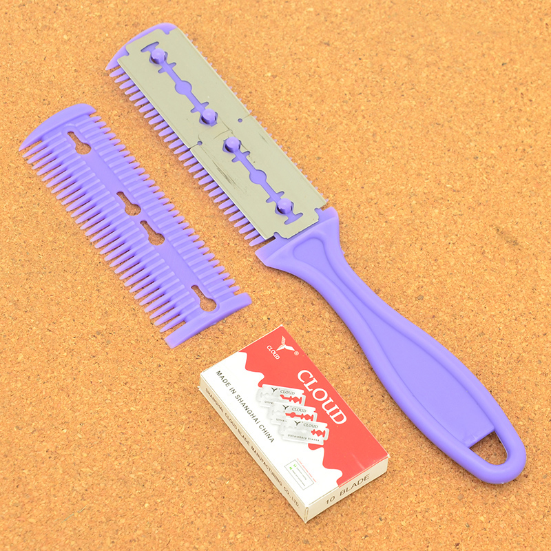 Meisha Men Body Hair Shaver Blade Trimmer Hair Cutting Razor Barber Thinning Shaving Knife Comb Hair Removal Tool+10Blade HC0001