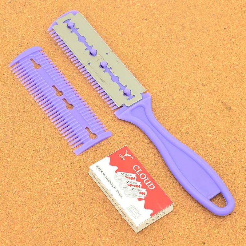 Meisha Men Body Hair Shaver Blade Trimmer Hair Cutting Razor Barber Thinning Shaving Knife Comb Hair Removal Tool+10Blade HC0001