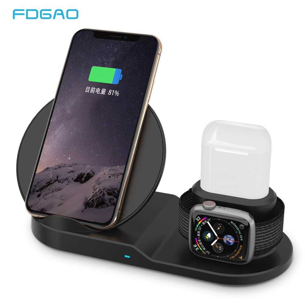FDGAO Qi bezprzewodowa ładowarka szybkiego ładowania dla iPhone 8 X XS Max XR Apple Watch 4 3 2 Airpods 10W szybka ładowarka do Samsunga S9 S8 S7