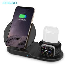 FDGAO Qi Wireless Charger Fast Charging for iPhone 11 8 X XS XR Apple Watch 5 4 3 2 Airpods Pro 10W 3 in 1 For Samsung S20 S10