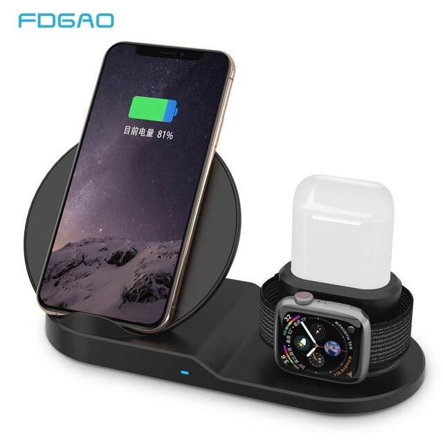 Fdgao Qi Draadloze Oplader Snel Opladen Voor Iphone 11 8 X Xs Xr Apple Horloge 5 4 3 2 Airpods pro 10W 3 In 1 Voor Samsung S20 S10
