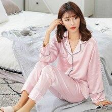 New Silk Satin Pajamas Pyjamas Set Long Sleeve Sleepwear Pijama Suit Female Sleep Two Piece Loungewear Plus Size