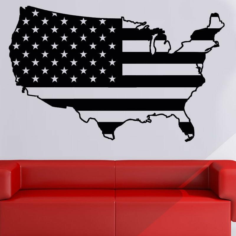 DCTOP USA Flag Wall Sticker Self Adhesive Wallpaper Map