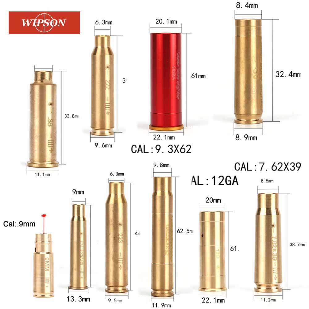 WIPSON new red dot laser brass copper boresight CAL cartridge bore sighter for scope hunting adjustment