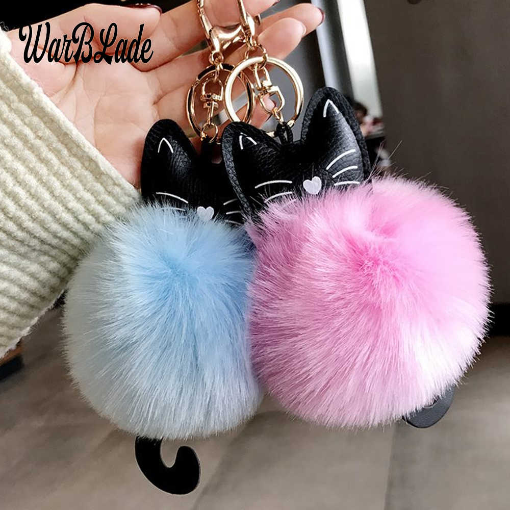 WBL Car Keyring Pompom Cat Keychain Fluffy Rabbit Fur Ball Key Chain Porte Clef for Women Bag Car Key Ring Christmas Gift