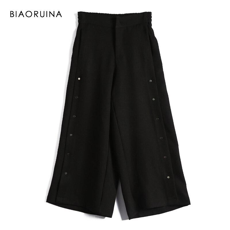 BIAORUINA Women Black Casual   Wide     Leg     Pant   Female Loose Buckles Decoration   Pant   Trouser High Waist Elastic   Pants   Trousers