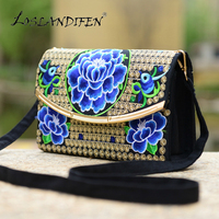 2017 New China Style Embroidery Women Crossbody Bag Embroidered Peony Azalea Rose Simple Sequined Cover Woman