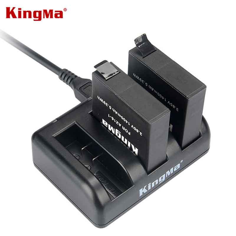 Original Kingma para xiaomi yi 4 k más batería 2 piezas con cargador doble para xiaomi yi 4 k yi 4 k más yi lite acción AZ16-1