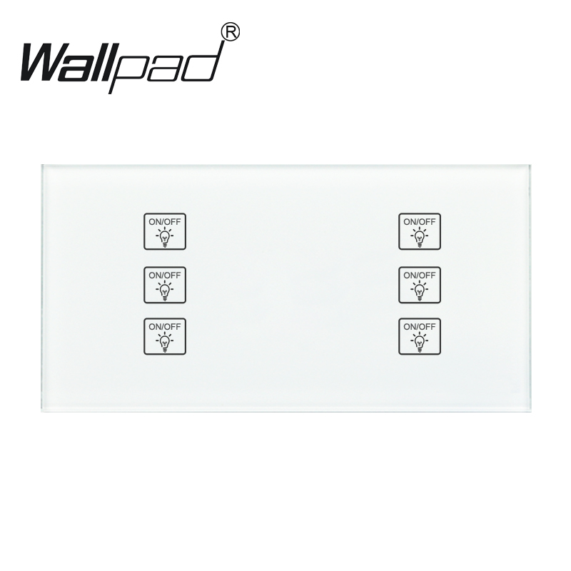 6 Gang 1 Way White DIY touch light wall switch 110 250V 172 86mm Temered Glass