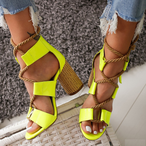 New Gladiator Sandals Women Summer Beach High Heels Shoes Woman Hemp Rope Cross Strap Pumps Shoes Women Sandals Plus Size 35-43 Islamabad